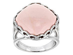 Pink Opal Rhodium Over Sterling Silver Ring