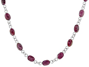 Red Indian Ruby Rhodium Over Sterling Silver Station Necklace 22.00ctw