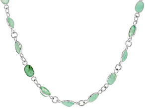 Green African Emerald Rhodium Over Sterling Silver Station Necklace 14.69ctw