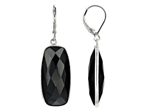 Black Spinel Rhodium Over Sterling Silver Solitaire Earrings 45.00ctw