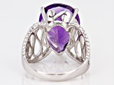 Purple African Amethyst Rhodium Over Sterling Silver Solitaire Ring 13.00ct