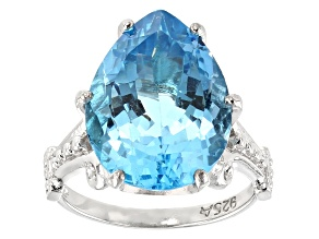 Blue Topaz Rhodium Over Sterling Silver Solitaire Ring 12.00ctw