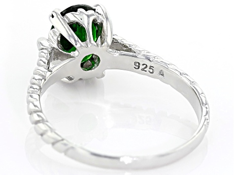 Green Russian Chrome Diopside Rhodium Over Sterling Silver Solitaire Ring 1.50ct