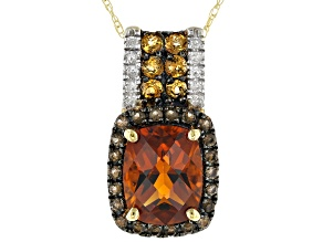Orange Madeira Citrine 10K Yellow Gold Pendant With Chain 2.97ctw