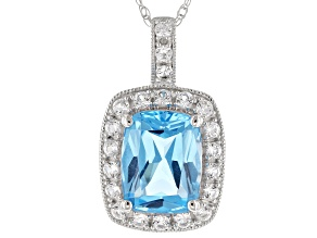 Blue Topaz Rhodium Over 14K White Gold Pendant With Chain 3.28ctw