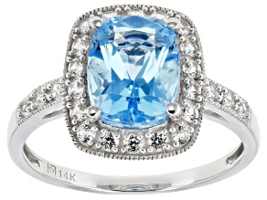 Blue Topaz Rhodium Over 14K White Gold Ring 3.34ctw