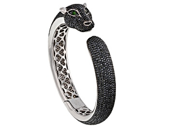 Picture of Black Spinel Rhodium Over Sterling Silver Panther Bangle Bracelet 14.39ctw