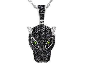 Black Spinel Rhodium Over Sterling Silver Panther Pendant With Chain 2.28ctw