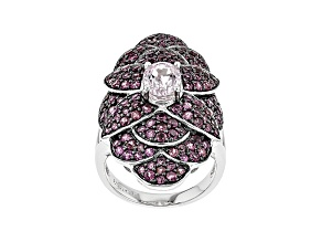 Pink Kunzite Rhodium Over Sterling Silver Ring 5.34ctw