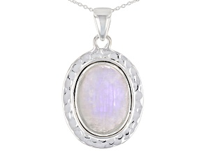 Rainbow Moonstone Sterling Silver Pendant With Chain