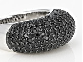 Black Spinel Rhodium Over Sterling Silver Ring 3.28ctw