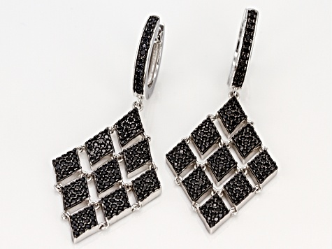 Black Spinel Rhodium Over Sterling Silver Dangle Earrings 2.75ctw