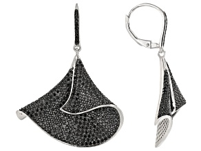 Black Spinel Rhodium Over Sterling Silver Dangle Earrings 5.40ctw