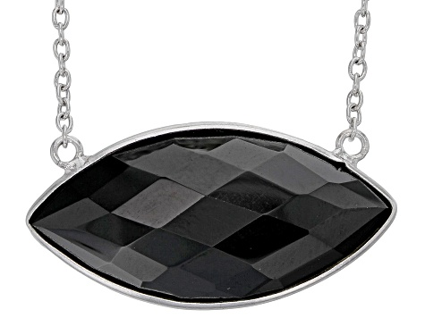 Black Spinel Rhodium Over Sterling Silver Necklace 35.00ct