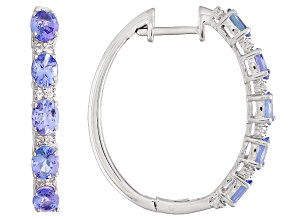 Blue tanzanite rhodium over silver 5-stone hoop earrings 3.60ctw