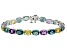 Multi Fluorite Rhodium Over Sterling Silver Tennis Bracelet 22.93ctw