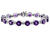 Purple African Amethyst Rhodium Over Sterling Silver Bracelet 23.36ctw