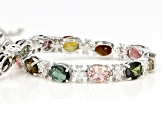 Multi Tourmaline Rhodium Over Sterling Silver Bracelet 13.16ctw