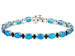 Blue Ethiopian Opal Rhodium Over Sterling Silver Bracelet 8.16ctw