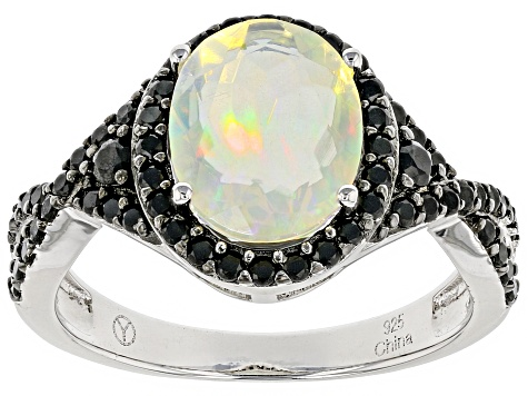 Multi Color Ethiopian Opal Rhodium Over Sterling Silver Ring 2.46ctw