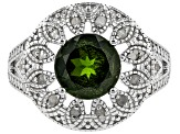 Green Russian Chrome Diopside Rhodium Over Sterling Silver Ring 1.35ctw