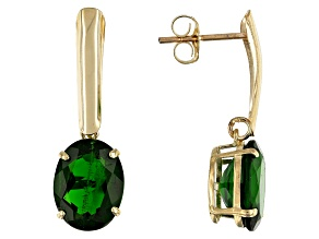 Green Russian Chrome Diopside 10K Yellow Gold Solitaire Earrings 3.80ctw
