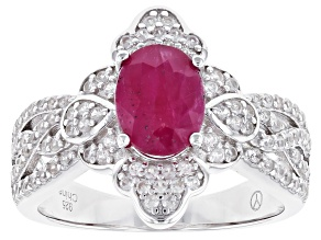 Red Burma Ruby Rhodium Over Sterling Silver Ring 1.76ctw
