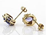 Blue Tanzanite 14K Yellow Gold Stud Earrings 1.10ctw