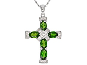 Green Russian Chrome Diopside Rhodium Over Sterling Silver Cross Pendant With Chain 2.47ctw