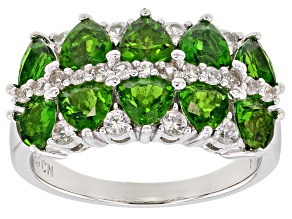 Green Russian Chrome Diopside Rhodium Over Sterling Silver Ring 3.12ctw