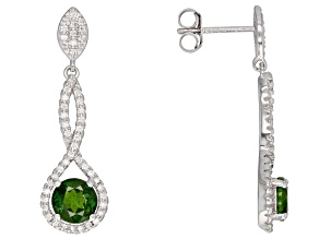 Green Russian Chrome Diopside Rhodium Over Sterling Silver Dangle Earrings 2.36ctw