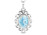 Blue Larimar Rhodium Over Sterling Silver Solitaire Pendant With Chain
