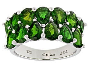 Green Russian Chrome Diopside Rhodium Over Sterling Silver Ring 5.69ctw