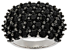 Black Spinel Rhodium Over Sterling Silver Ring 5.65ctw