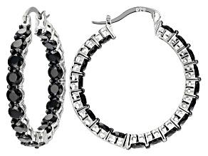 Black Spinel Rhodium Over Sterling Silver Inside/Outside Hoop Earrings 10.80ctw