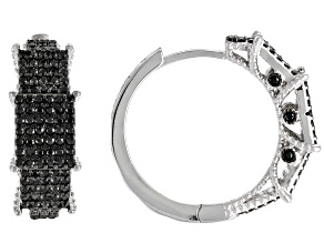 Black Spinel Rhodium Over Sterling Silver Hoop Earrings 1.86ctw