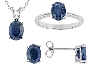 Blue Indian Sapphire Rhodium Over Sterling Silver Jewelry Set 6.00ctw