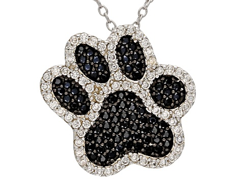Black Spinel Rhodium Over Sterling Silver Paw Pendant With Chain 1.16ctw