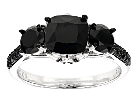 Black Spinel Rhodium Over Sterling Silver Ring 4.13ctw