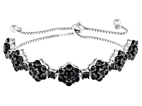 Black Spinel Rhodium Over Sterling Silver Bolo Bracelet 7.97ctw