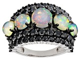 Multi Color Ethiopian Opal Rhodium Over Sterling Silver Ring 5.97ctw
