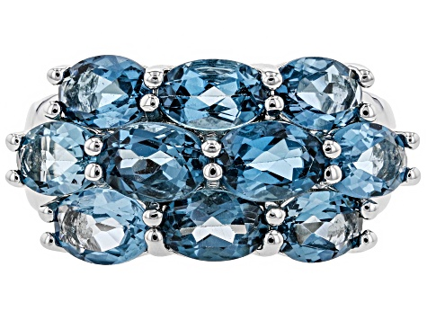 London Blue Topaz Rhodium Over Sterling Silver Ring 5.49ctw