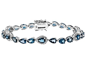 London Blue Topaz Rhodium Over Sterling Silver Bracelet 12.54ctw