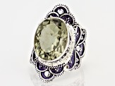 Green Brazilian Prasiolite Sterling Silver Solitaire Ring 7.00ct