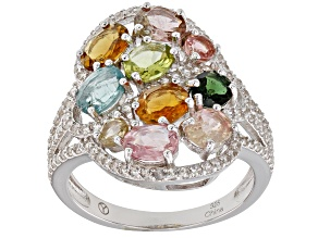 Multi Color Tourmaline Rhodium Over Sterling Silver Ring 3.20ctw