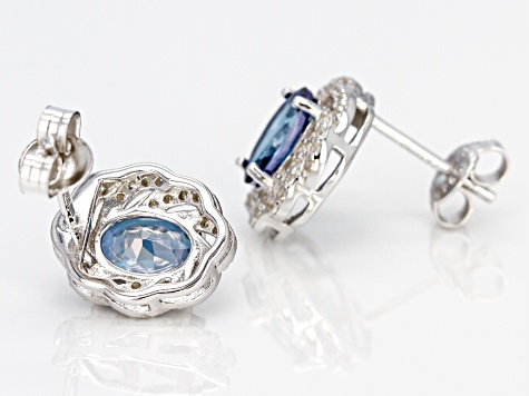 Blue Danburite Rhodium Over Sterling Silver Stud Earrings 2.80ctw