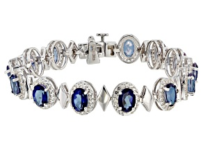 Blue Danburite Rhodium Over Sterling Silver Bracelet 11.75ctw