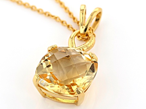 Yellow Brazilian Citrine 18K Yellow Gold Over Sterling Silver Pendant With Chain 6.50ct