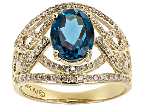 London Blue Topaz 10K Yellow Gold Ring 2.43ctw