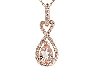 Pink Morganite 10K Rose Gold Pendant With Chain .75ctw